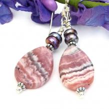 teardrop earrings rhodochrosite pearls pink grey gray