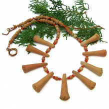 Terracotta and red coral tribal necklace