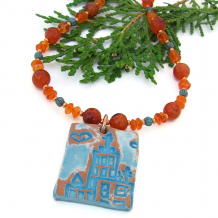 terracotta church jewelry with carnelian gemstones