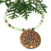 tree of life necklace copper green prehnite gemstones