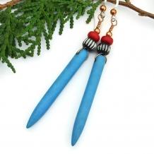 Unique handmade turquoise magnesite spike boho earrings.