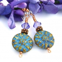 One of a kind turquoise dahlia flower handmade earrings with lavender crystals.