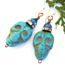 turquoise magnesite halloween skull earrings with crystals
