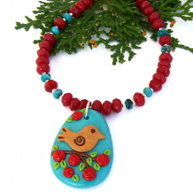 turquoise red bird flowers handmade necklace with gemstones