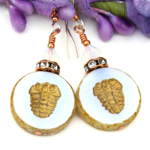 two sided glass trilobite jewelry