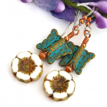 butterfly and flower earrings for women