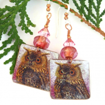 unique horned owl dangle earrings
