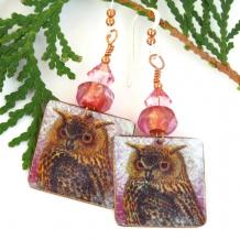 unique horned owl dangle earrings