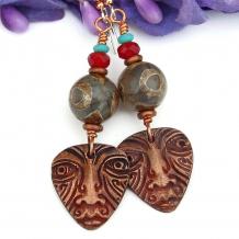 tribal mask earrings gift for women