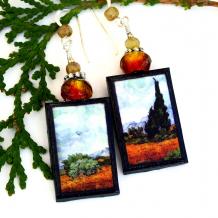 vincent van gogh wheat field with cypress earrings art earrings for women