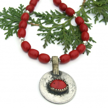 vintage kuchi coin from afghanistan and red coral necklace