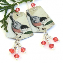 nuthatch bird earrings for women