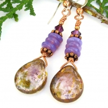 Violet and copper earrings for women.