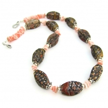 Leopardskin jasper gemstone necklace