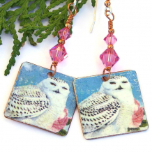 white blue pink snowy owl earrings gift for women