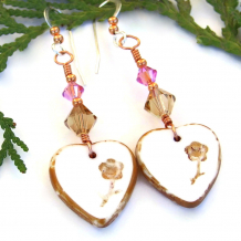 white hearts flowers earrings with swarovski crystals valentines gift