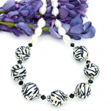Zebra stripe handmade necklace