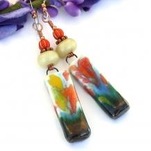 Impressionist flower earrings
