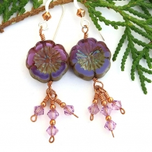 Purple flower earrings.