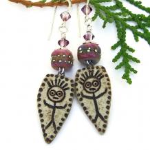 WTF wild woman ceramic earrings lampwork swarovski crystals
