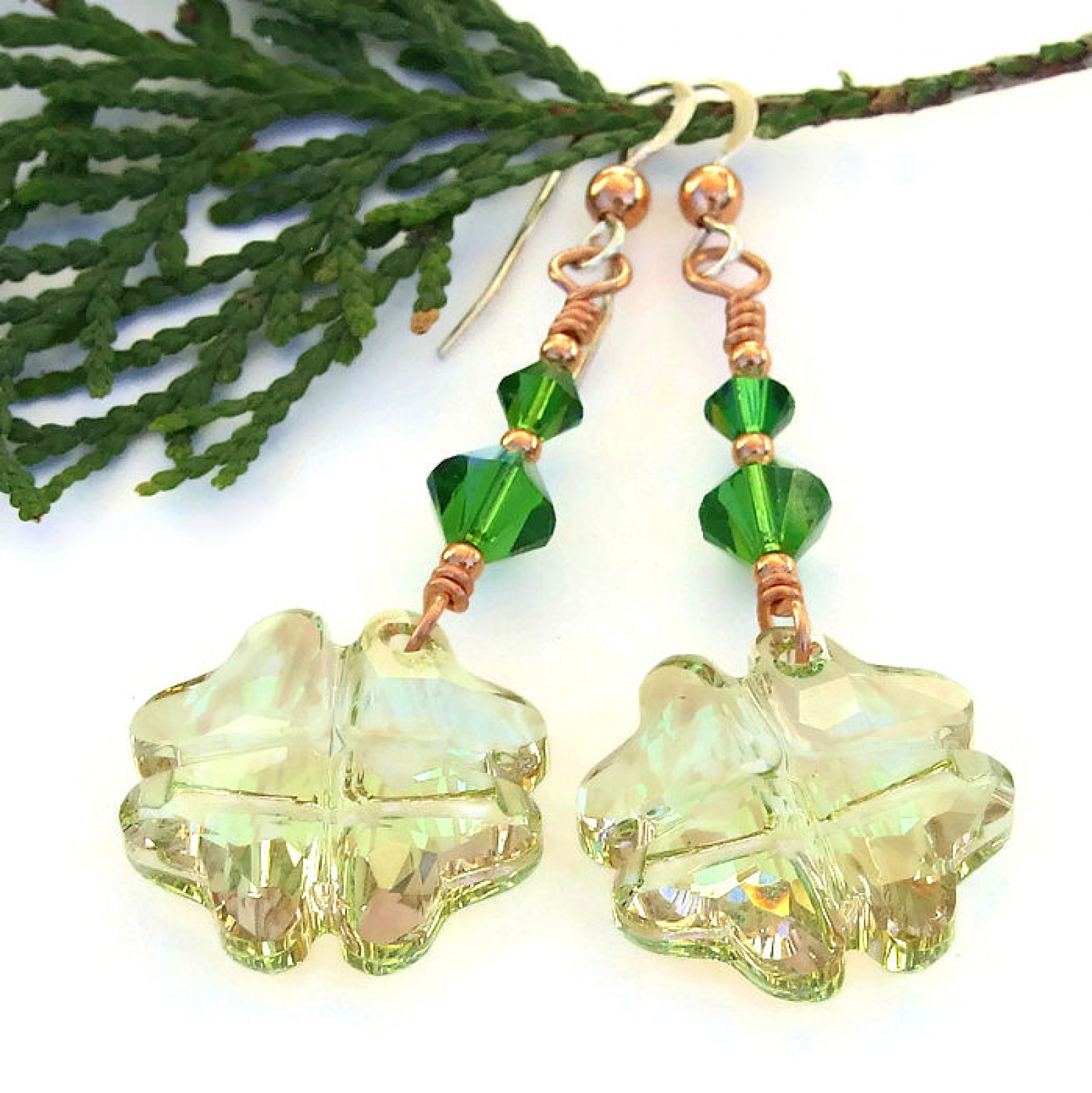 512b715674e591 ... crystal earrings  Lucky four leaf clover jewelry gift idea for her ...