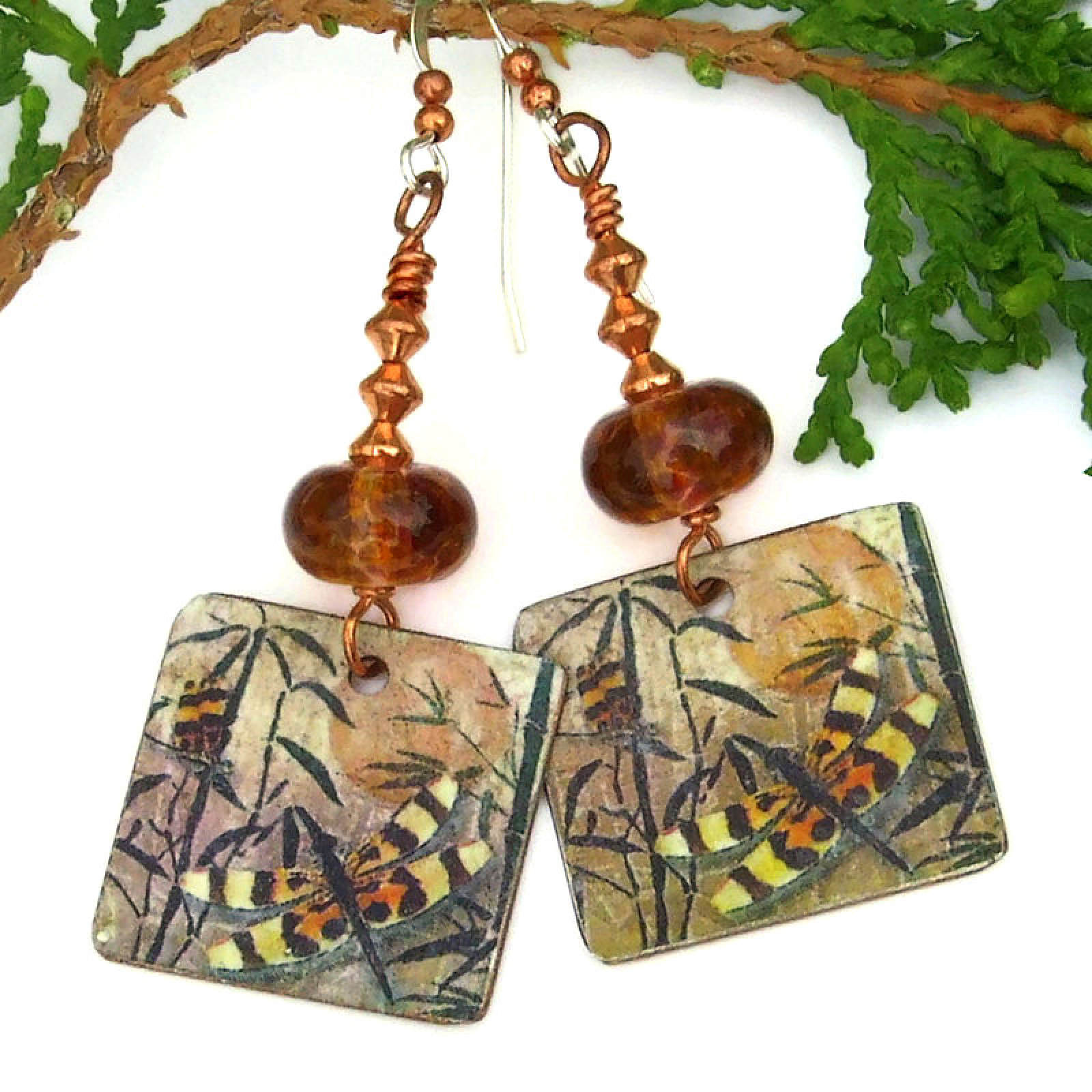Dragonfly Earrings, Copper Lampwork Vintage Look Handmade Jewelry Gift