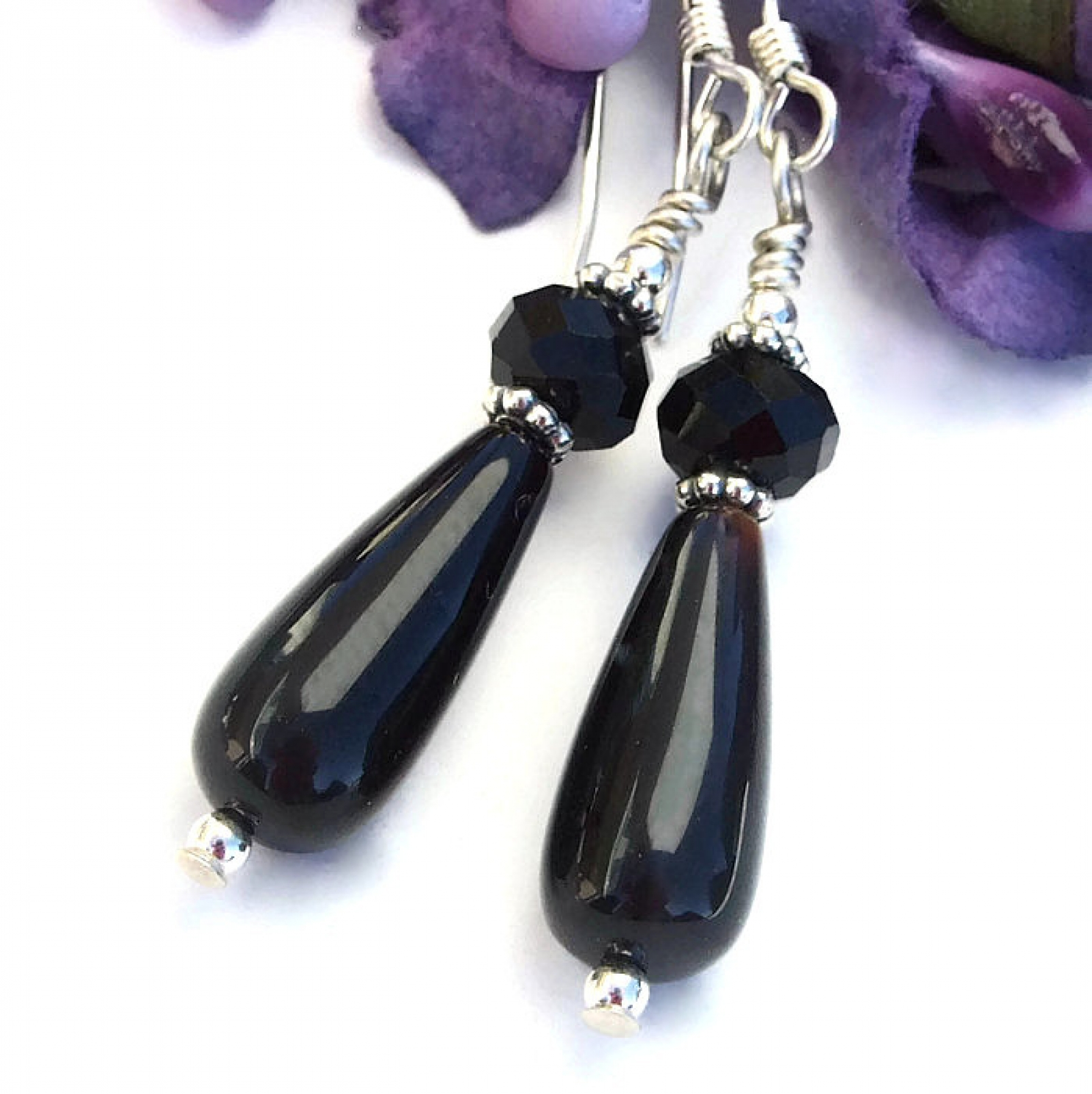 26e5b0b5b Black onyx and sterling jewelry, gift idea for her. Teardrop earrings.