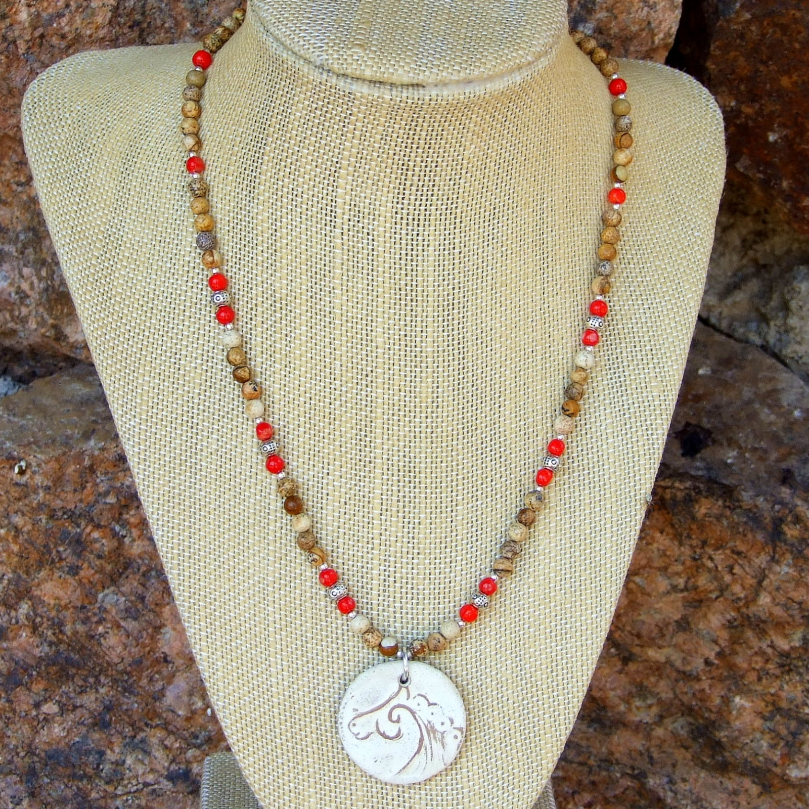 Celtic Horse Spiral Necklace, Handmade Jewelry Jasper Red Coral Earthy