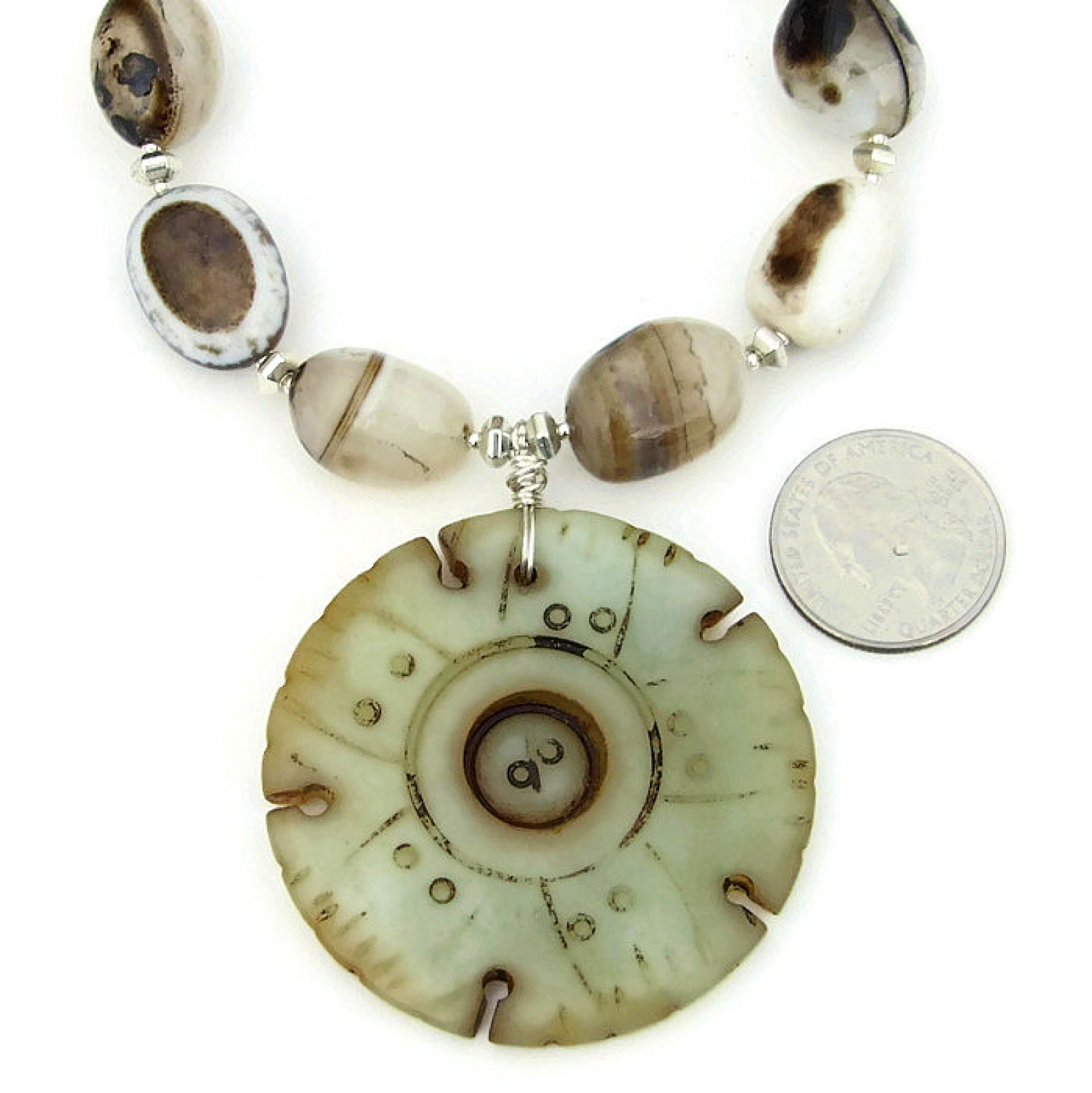 Jade Lotus Pod Carved Pendant Necklace Banded Eye Agate