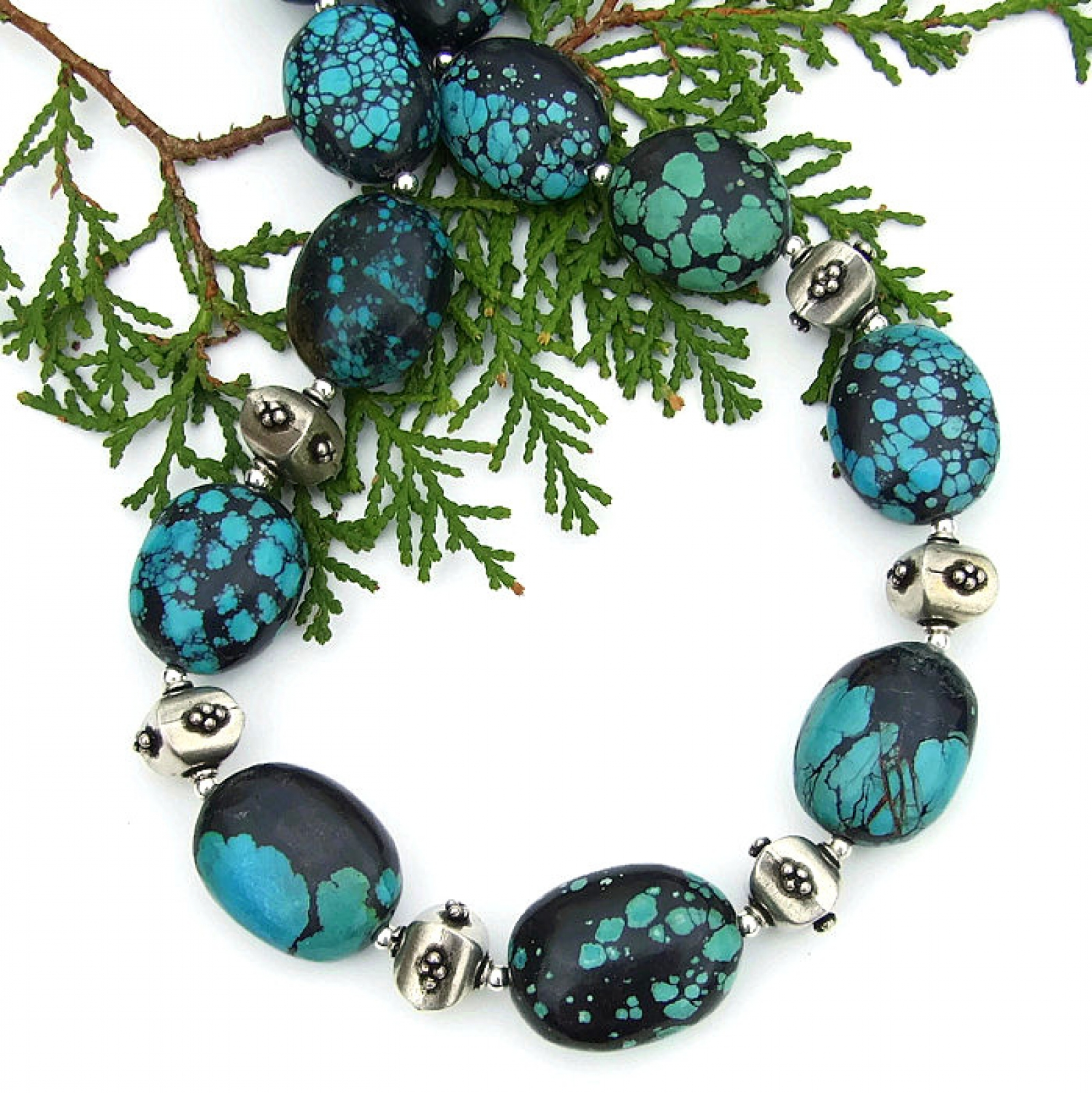 Turquoise Silver Necklace Chunky