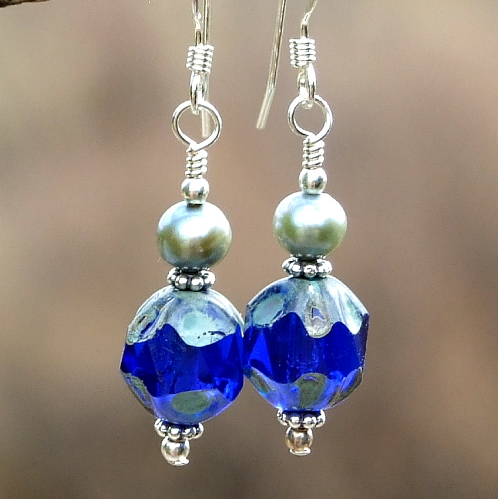 silvertone caged earrings jewelry blue sharon vintage glass antiqued cobalt s products