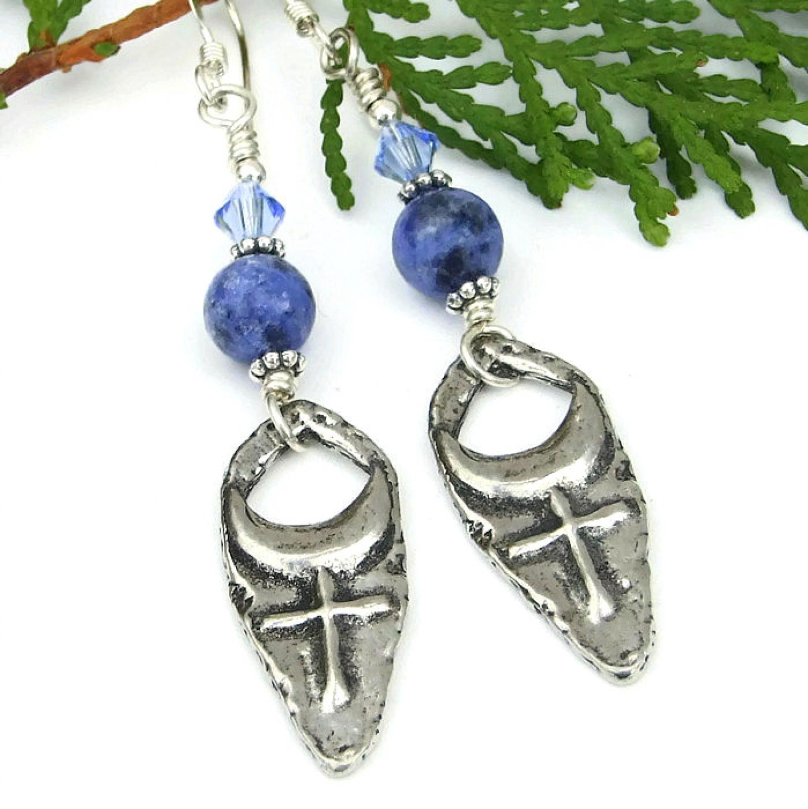 Cross and moon earrings sodalite swarovski mystical handmade mystical earrings for women gift idea aloadofball Choice Image