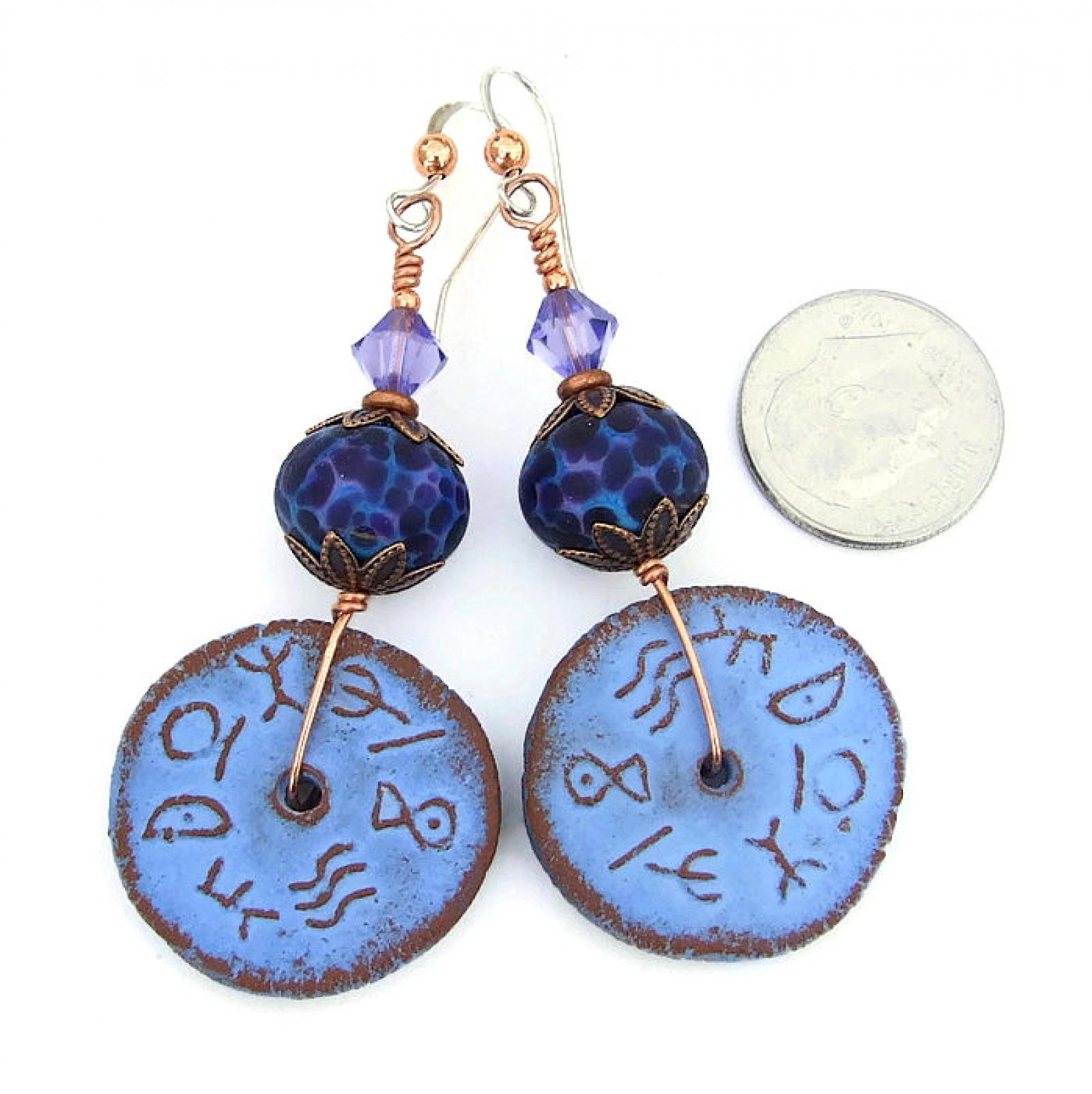 Free Shipping Sites >> Rustic Runes Handmade Earrings, Ceramic Purple Lampwork ...