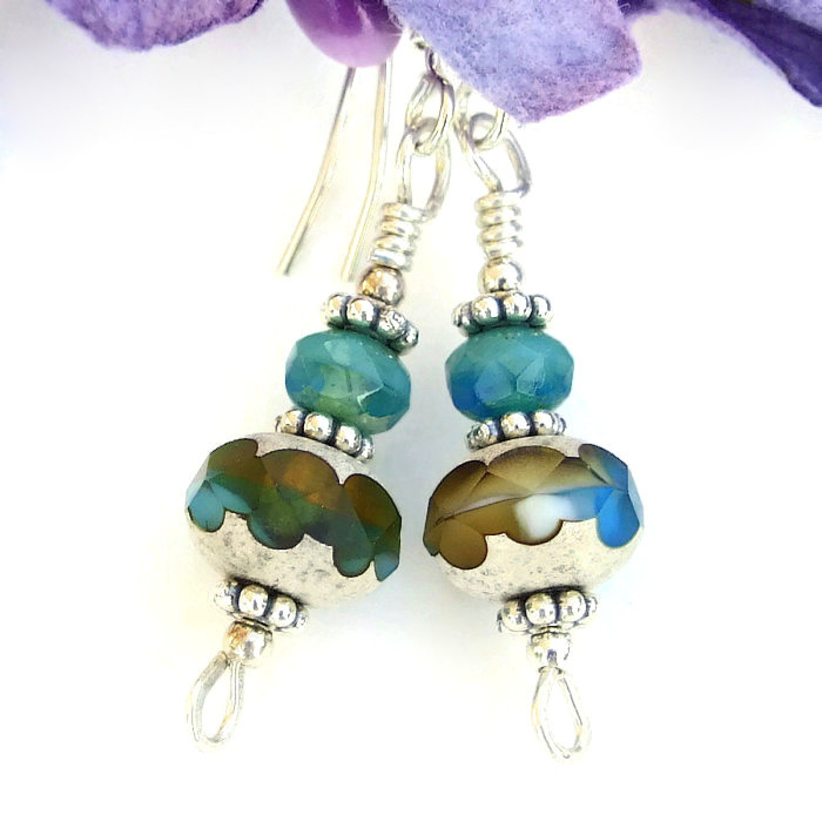 Turquoise and Amber Earrings, Czech Glass Silver Handmade Jewelry ...