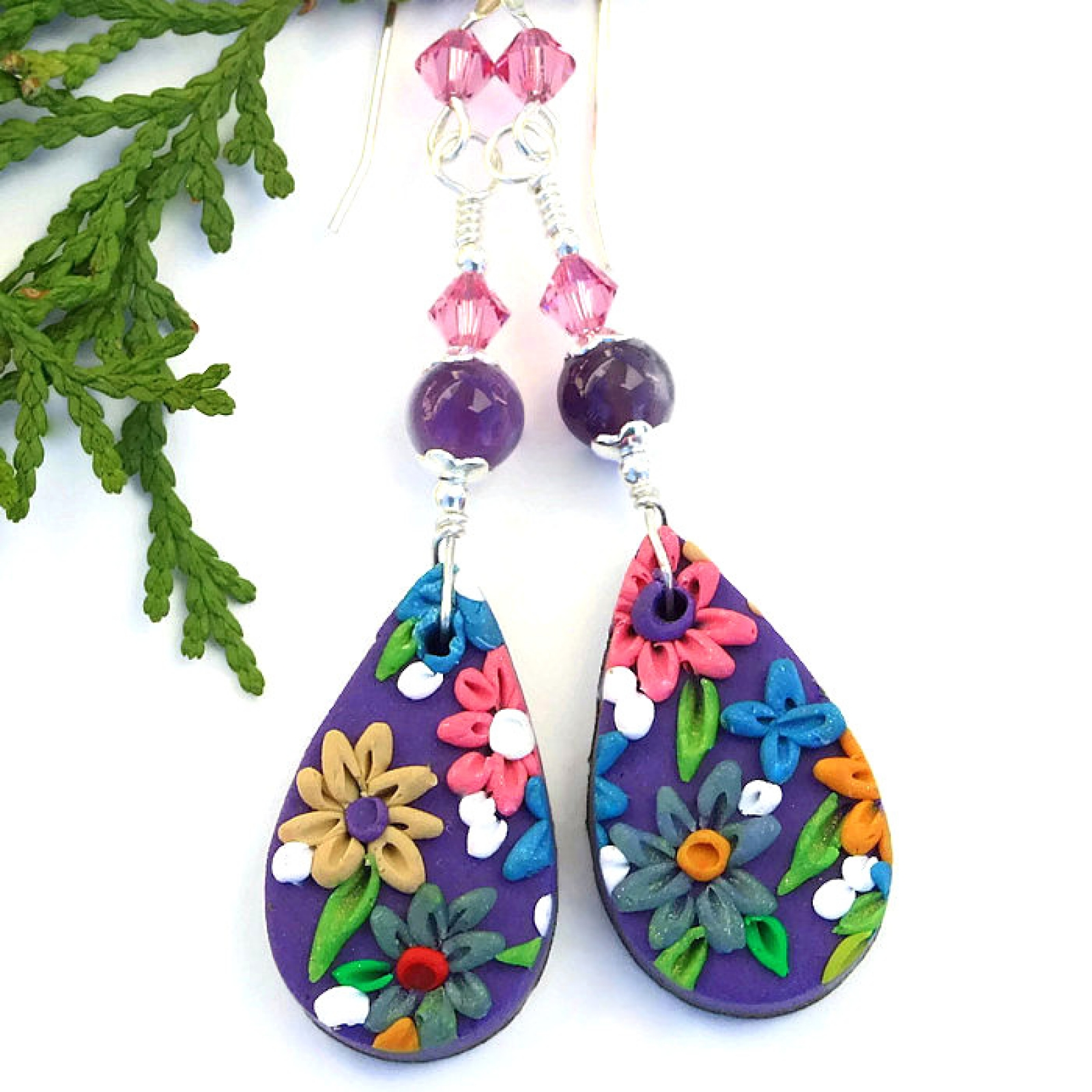 Purple And Pink Flower Earrings Polymer Clay Embroidery