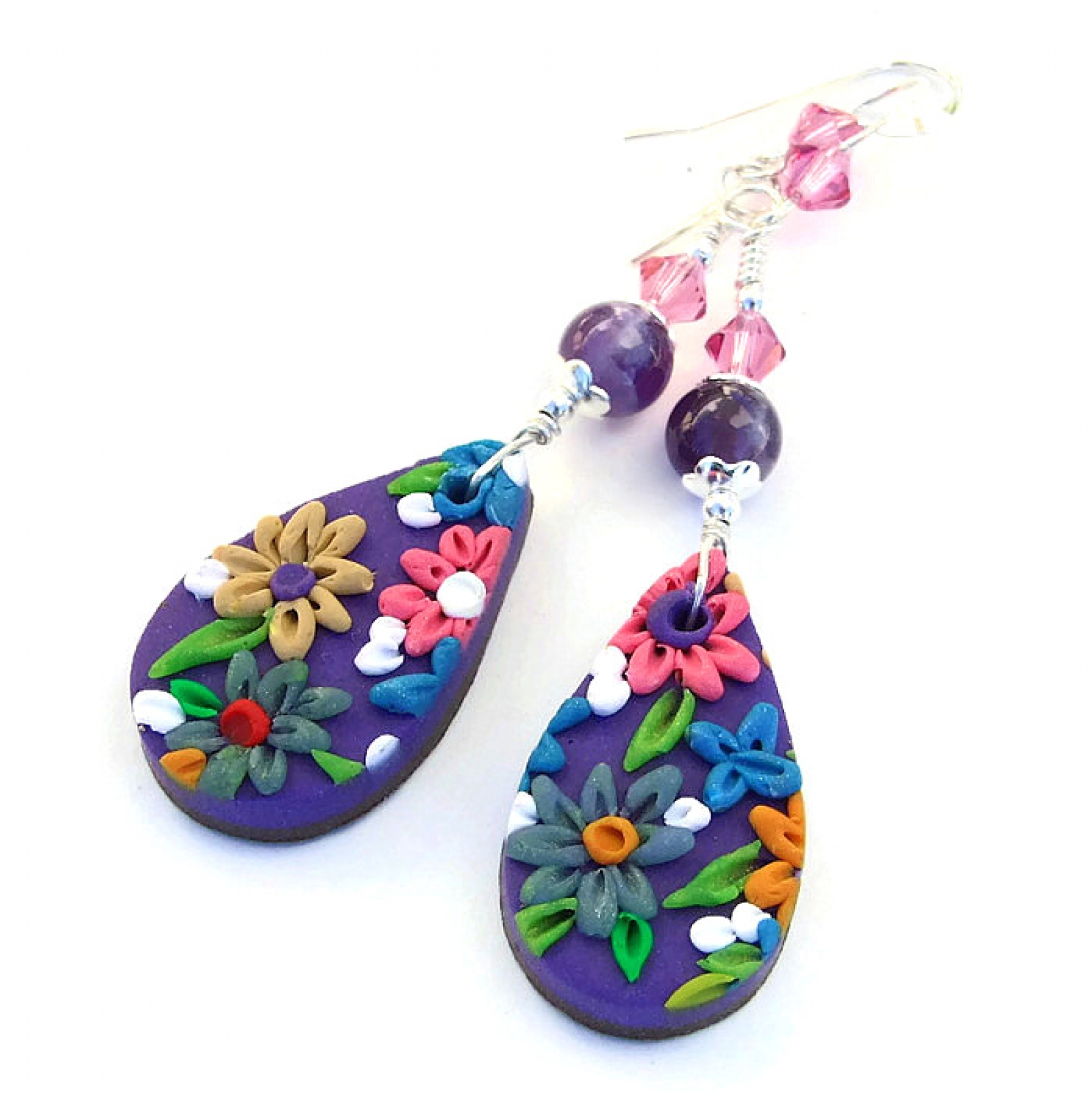purple women earrings lyst marquetry flower furmanovich jewelry s silvia in
