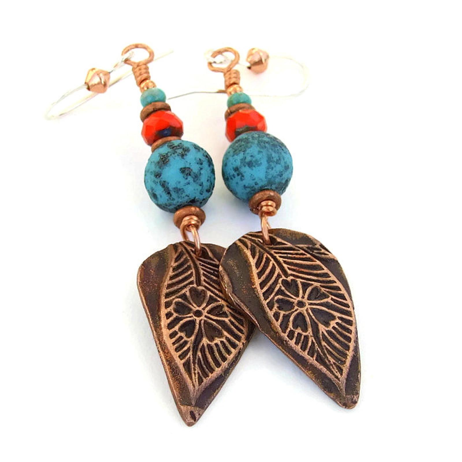 Leaf flower earrings handmade jewelry gift copper
