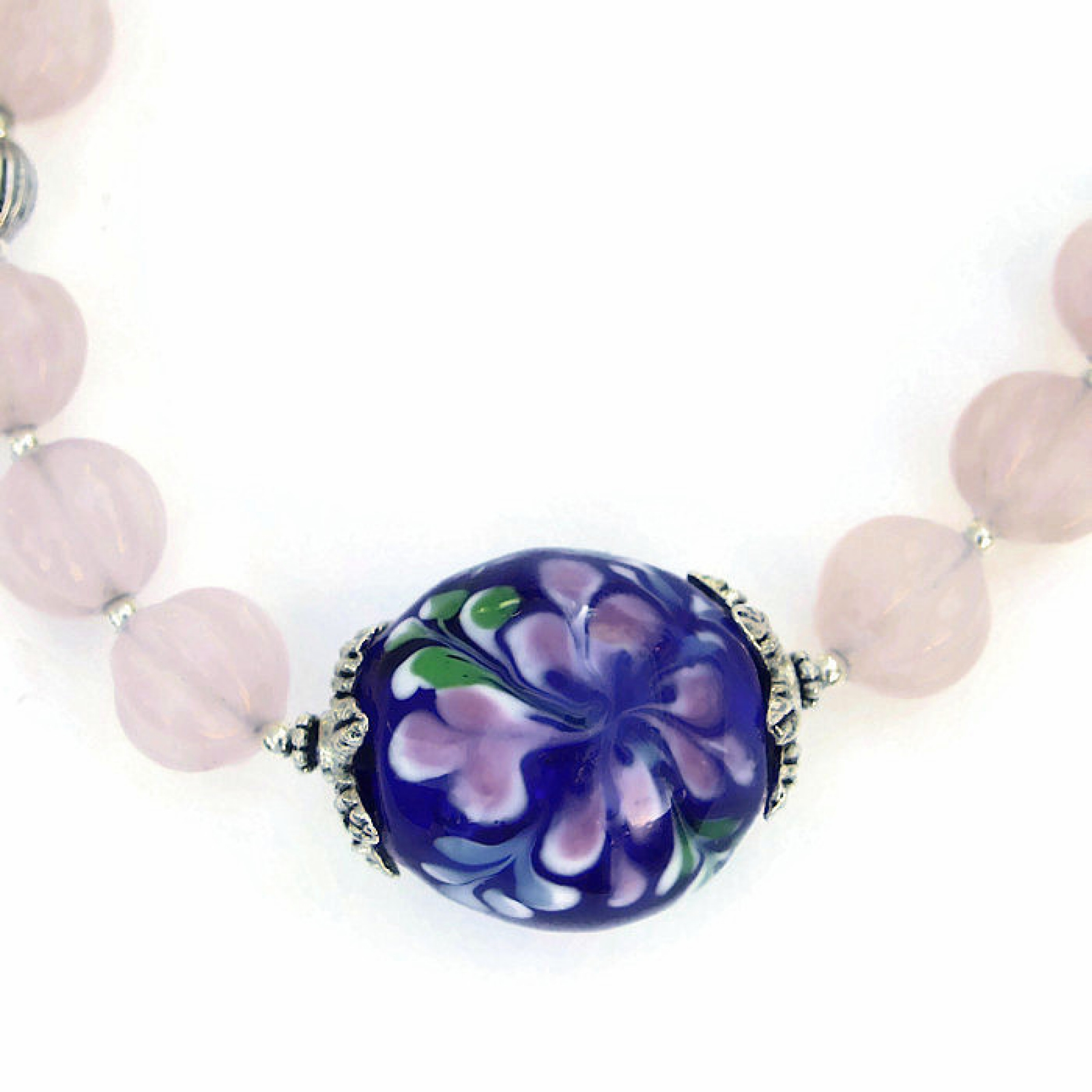 focal necklace explosion pink bead blue handmade flower artisan product gift and cobalt lampwork quartz jewelry rose