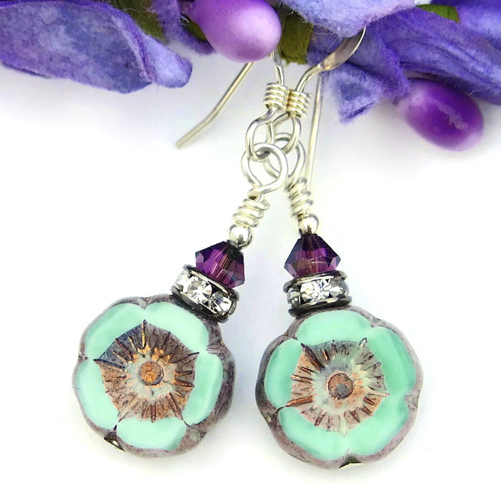 painted koyu flower koyuearringstud earrings talon products suneaters the purple poppy and