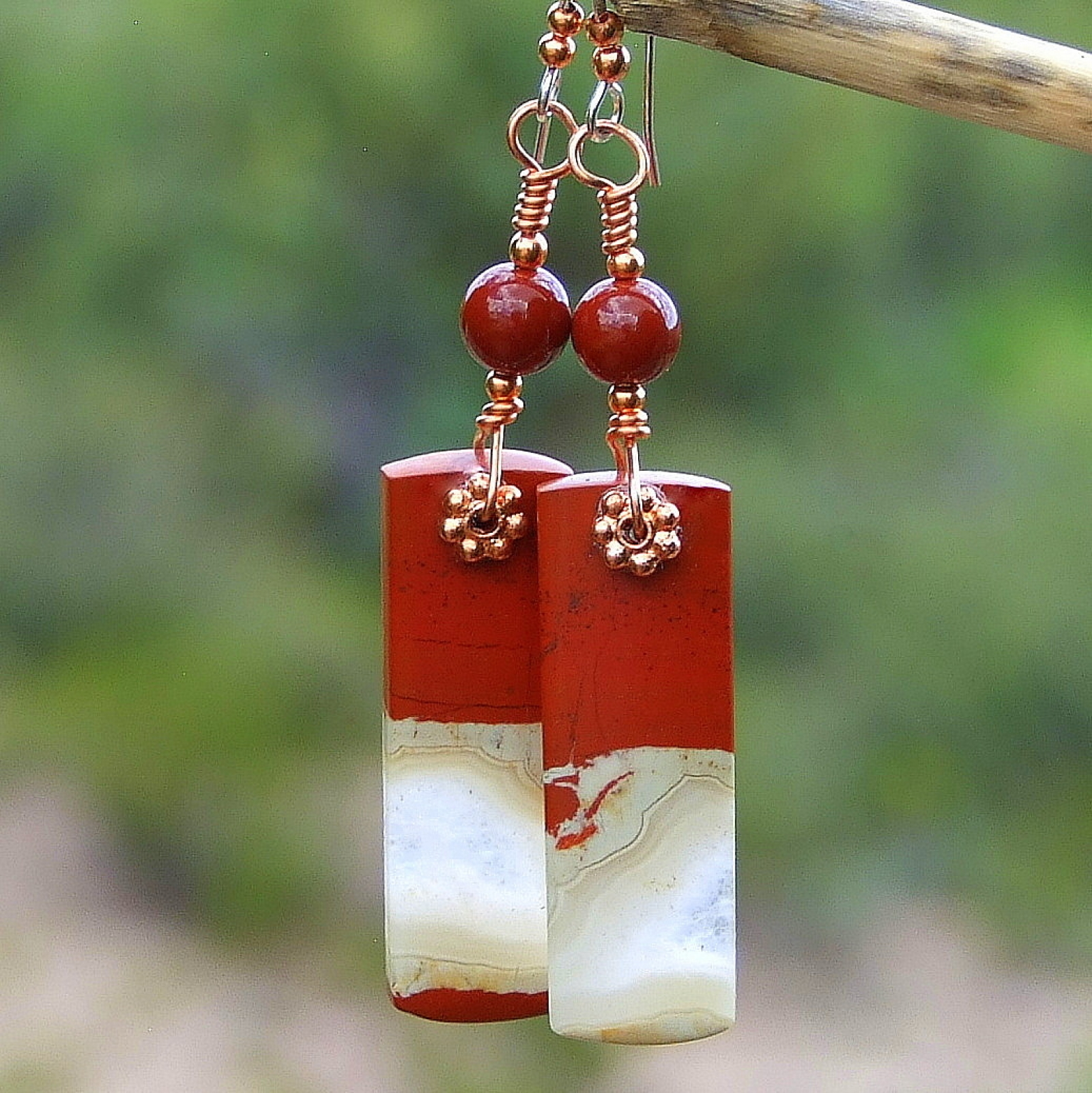 Red River Jasper Gemstone Earrings Handmade Copper