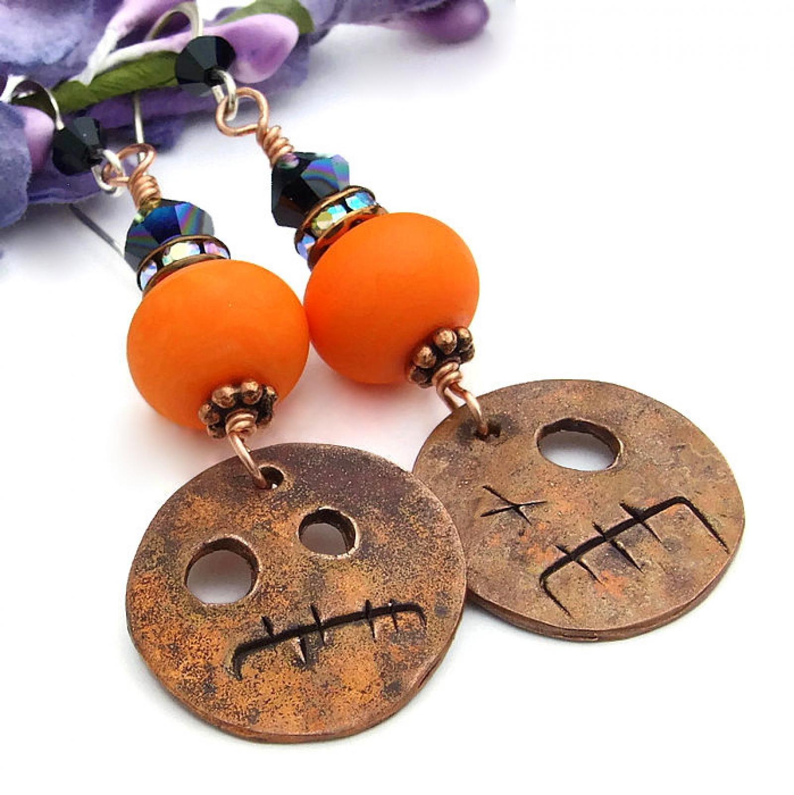 Halloween Goblin Earrings Orange And Black Handmade