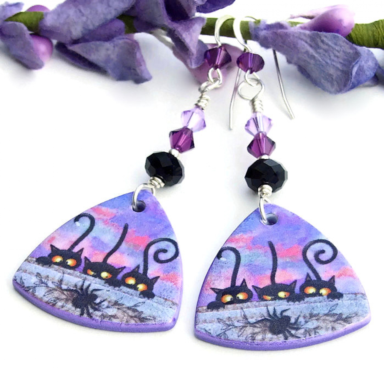 ... Black cats and spider Halloween earrings ...
