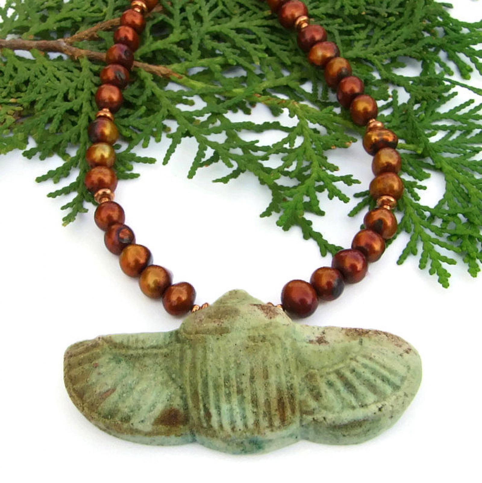Khepri sacred scarab pendant necklace egyptian faience jewelry sacred scarab necklace egyptian faience jewelry gift pearls handmade aloadofball Choice Image