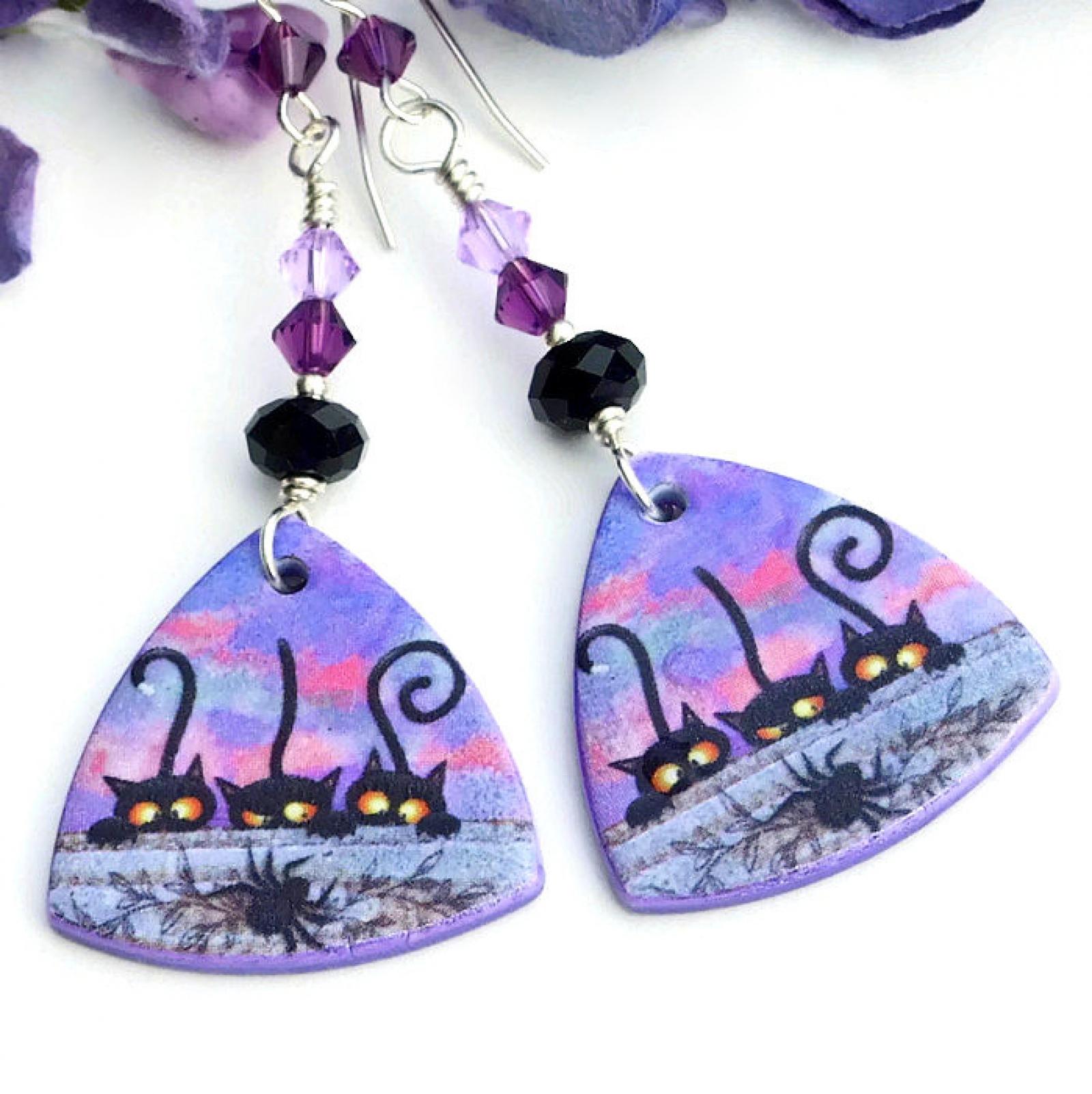 Black Cats Spider Halloween Earrings, Handmade Purple Black Jewelry