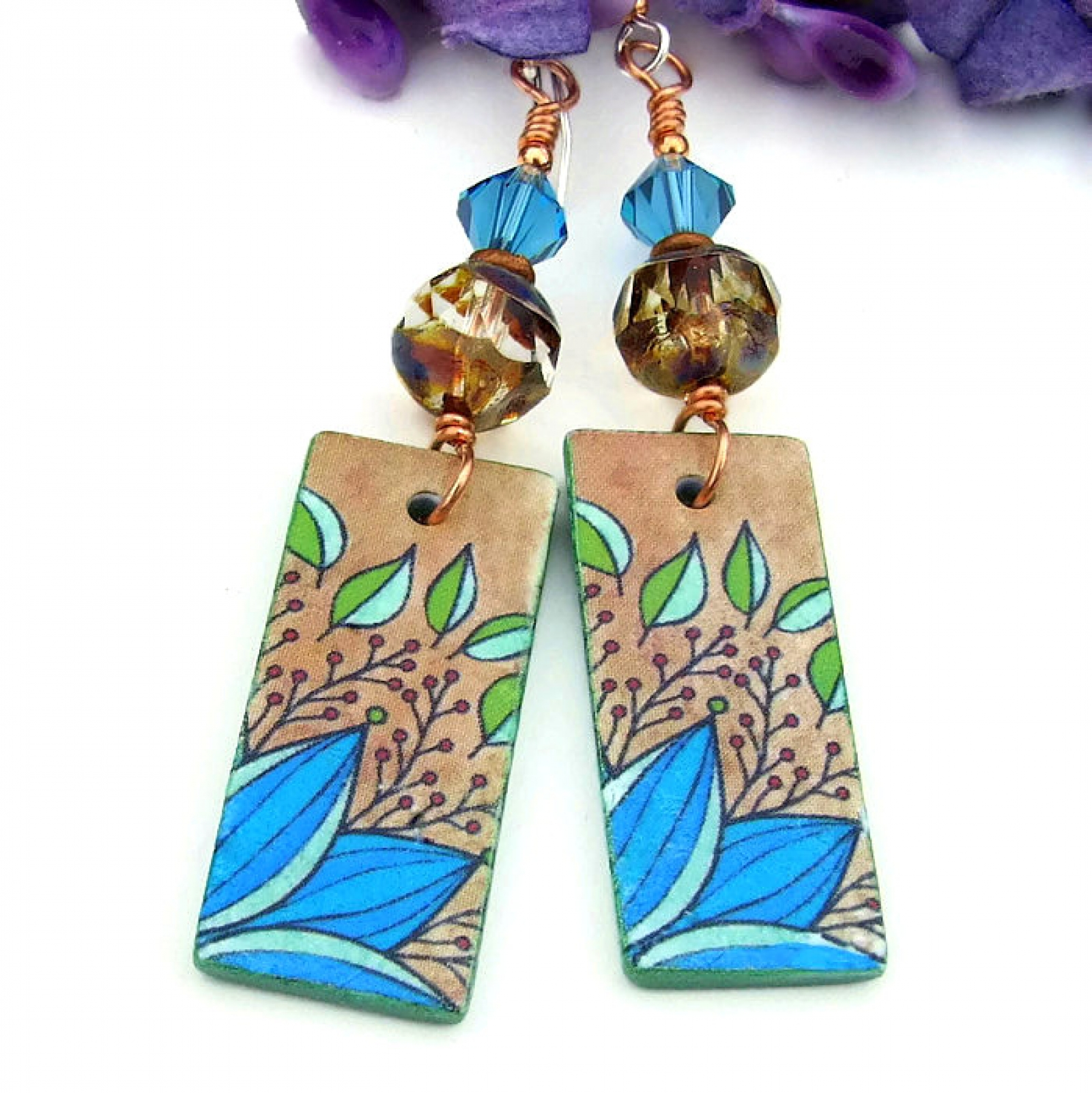 4dcdf31ec Turquoise Tan Leaf Foliage Earrings, Polymer Clay Handmade Jewelry ...
