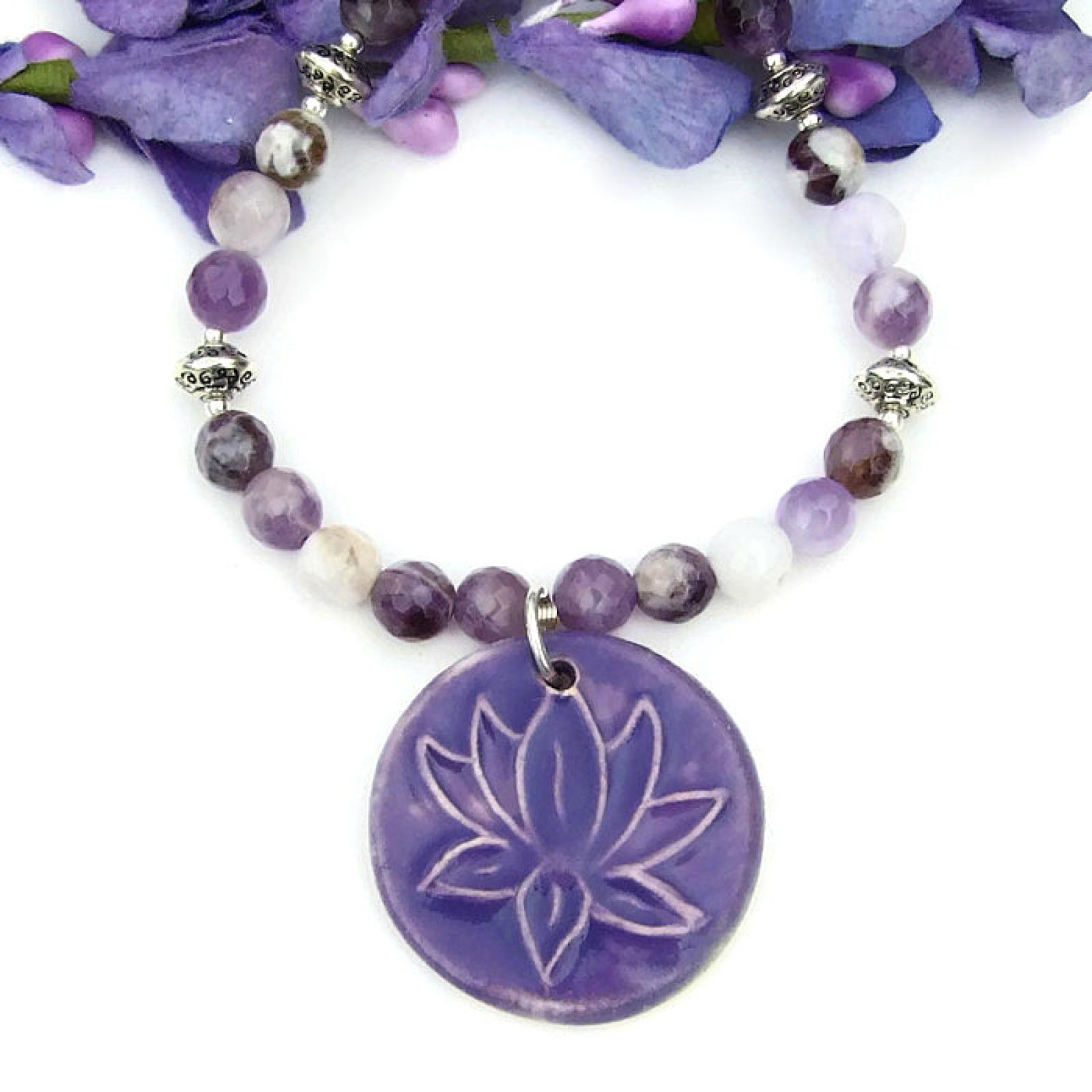 Lotus Flower Yoga Necklace Purple Fire Agate Handmade Jewelry Gift
