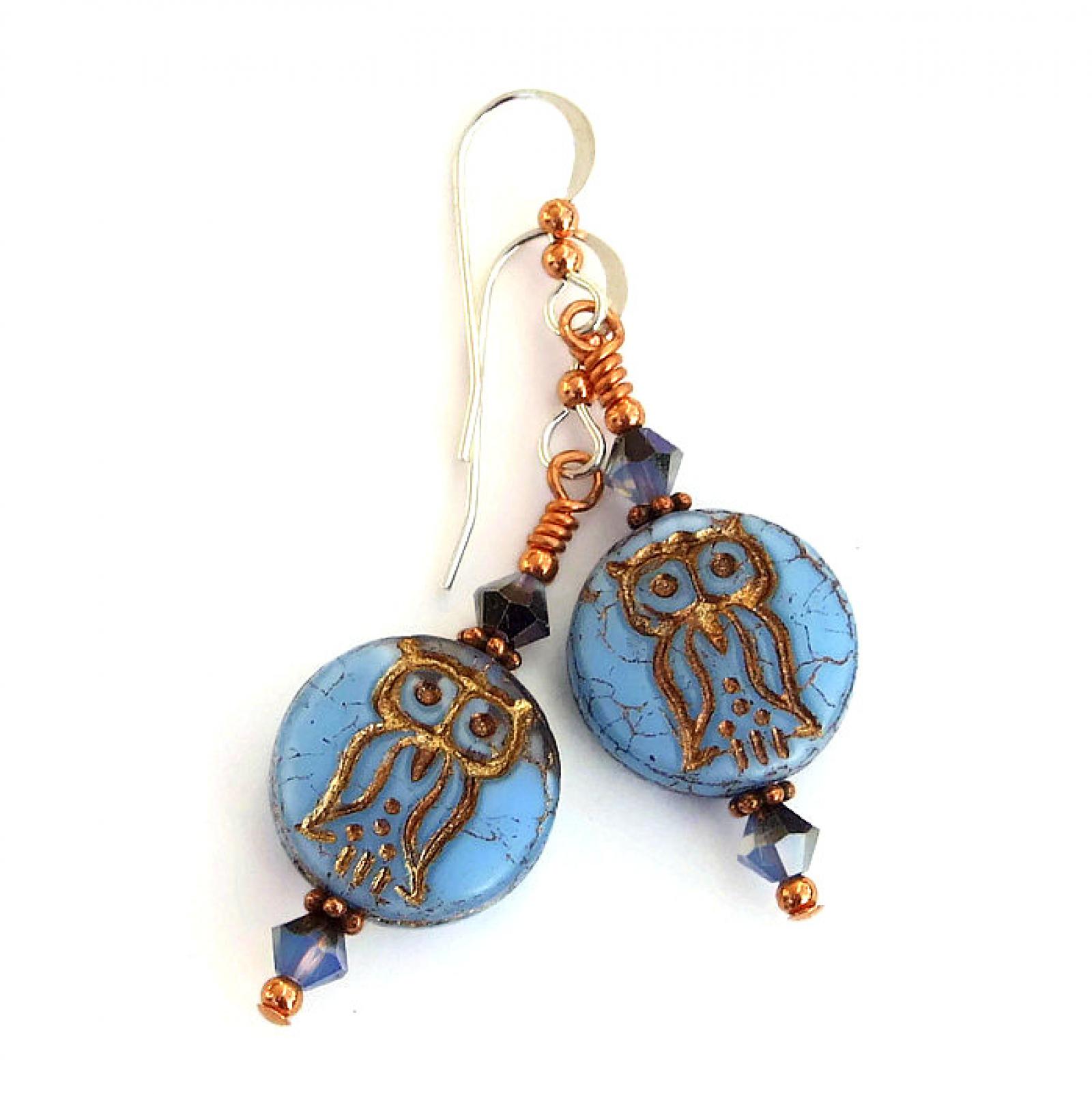 fc480330f ... jewelry; blue and copper owl earrings; handmade owl earrings for a bird  lover ...