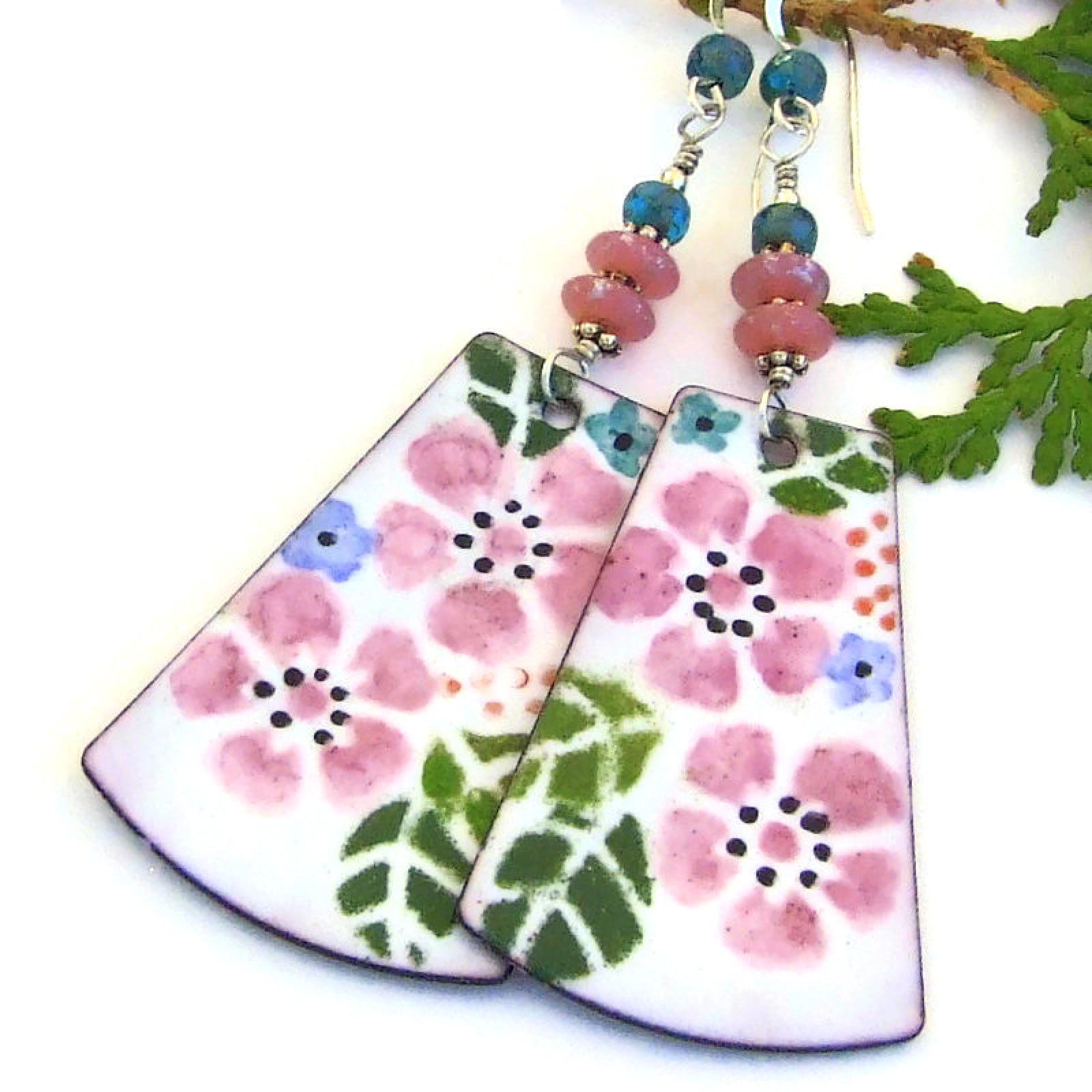 Pink Flowers Enamel Earrings White Blue Handmade Bold Dangle Jewelry