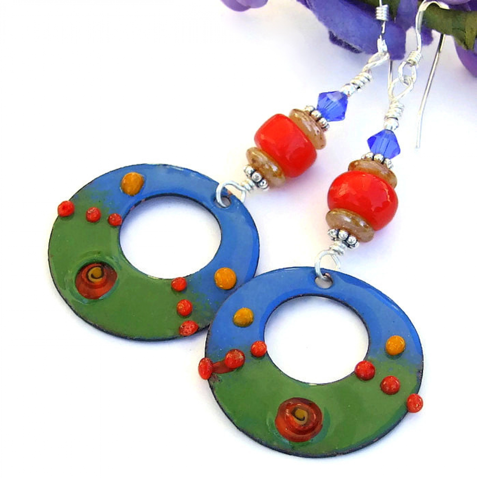enamel for poppy boho blue green hoop fields red and women inspired yellow go jewelry handmade earrings product flower