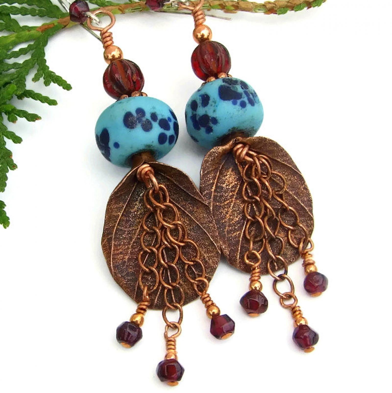 Rainforest Leaf Boho Earrings Copper Garnet Lampwork